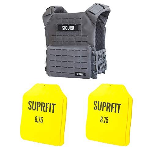 Suprfit Sigurd 3D Gewichtsweste Plate Set G - Trainingsweste inkl. Zusatz Gewichten, Farbe: Grau, Gewicht: 37,5 lbs / 17 kg, Unisex, geeignet für CrosG Training & Krafttraining