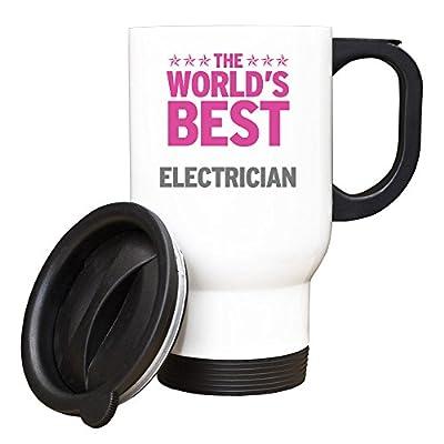 Rosa mundos mejor electricista blanco taza de viaje 108