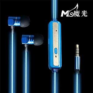 PaNMARI qualité 3,5 mm Phosphorescent-Écouteurs intra-auriculaires ultra Clear Bass-Écouteurs intra-auriculaires à isolation sonore avec écouteurs pour MP3/MP4/téléphone portable pour Xiaomi Bleu