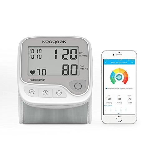 Koogeek Tensiómetro de Muñeca Digital Monitor de Presión Arterial Bluetooth Medir la Frecuencia Cardíaca Función de Memoria con Gran LCD Pantalla para IOS y Android