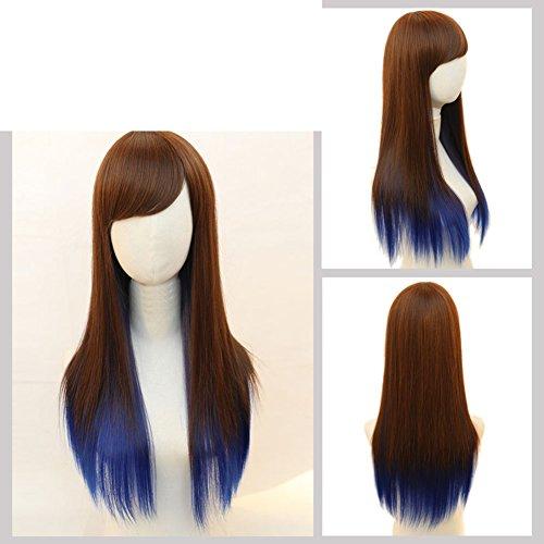 (lange glatte Haare einen Farbverlauf/Fringe zeigt die gesamte Oberseite aus dem Netz-G)