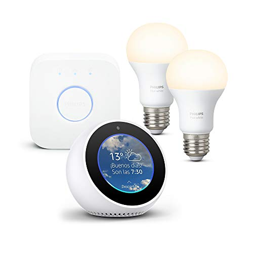 Amazon Echo Spot, blanco + Philips Hue White Kit - Kit de...
