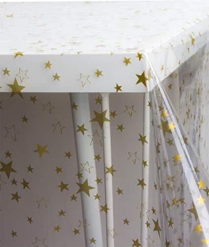 (normani Weihnachtstischdecke Tischdecke in Gold und Silber und mehr - Weihnachtszeit weihnachtlich - Größe wählbar Farbe Transparent Ofek Gold Größe 200 cm x 140 cm)