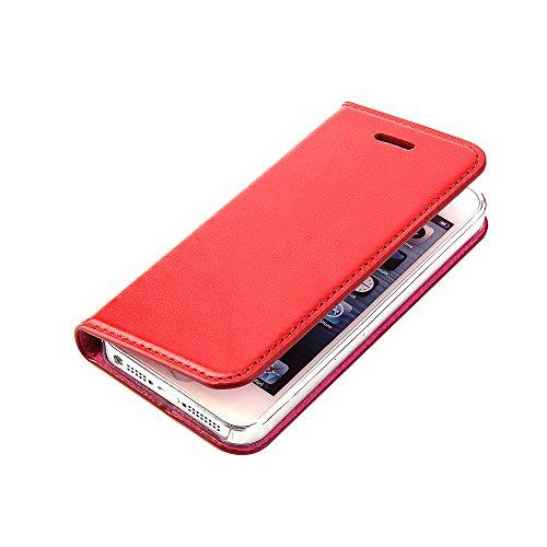 Wormcase Handytasche kompatibel mit iPhone 5-5S-SE - ECHTLEDERHÜLLE - KARTENFACH - MAGNETVERSCHLUSS - Farbe Rot - Case Echt-Leder-Tasche-Hülle-Case Etui Flip Schutz-huelle Echtes-leder Iphone 5 Leder-etui