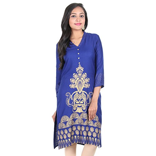 eSTYLe Surf The Web Blue V-Collar Neck Design Pure Rayon Women Kurta...
