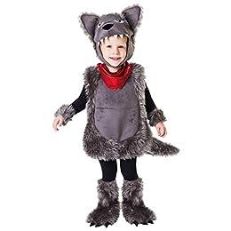 Este disfraz de lobo para niño incluye una túnica, unos manguitos, unos cubre pies y una capucha.La capucha representa la cabeza de un lobo con orejas grandes.La túnica tiene una cola en la parte de atrás.Los cubre pies imitan las patas del l...