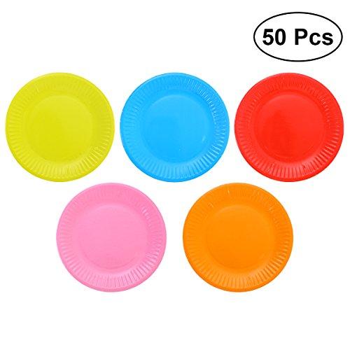 g-Papier Teller Teller sortiert Farbe Papier Kuchen Platte Packung mit 50 ()