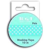 Toga MT30Masking Tape Lunares Washi, Blanco/Azul, 5,5 x 7 x 1,5 cm