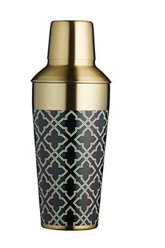 KitchenCraft Cocktail-Shaker Bar Craft 750ml aus Edelstahl in schwarz/Gold, Messing, 650 ml