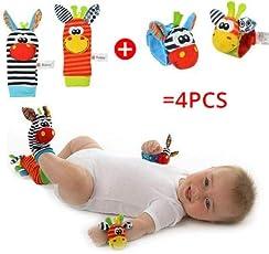 4 Pcs Set (2 Wrist and 2 Foot) Baby Kids Infant Soft Wrist rattles and Sock rattles Handbells Hand Foot Finders Socks Developmental Toys