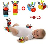 #7: 4 Pcs Set (2 Wrist and 2 Foot) Baby Kids Infant Soft Wrist rattles and Sock rattles Handbells Hand Foot Finders Socks Developmental Toys