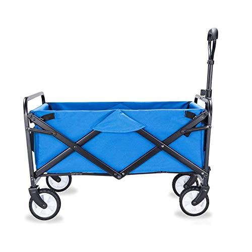 TYUIO Zusammenklappbar Folding Dienstprogramm Wagon Quad Compact Outdoor-Garten Camping Wagen Abnehmbarer Stoff, Gelb (Color : Blue)