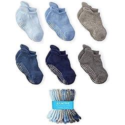 LA Active Tobillera Calcetines Antideslizantes - 6 Pares - para Bebé Niños Niñas Infantil Recién Nacido (Niños, 3-6 Meses)