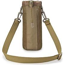 VORCOOL Portador de la botella de agua con aislamiento Bolsa de agua Bolsa de la bolsa Funda de la bolsa Cintura trasera ajustable Bolsa de hombro táctico Ideal para ir de excursión Acampar de viaje (Brown)