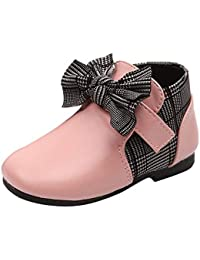 Botas Niña Piel DE 0-6 Años, Zolimx Bebé Niños Cuero Bowknot Martin Invierno Botas Estudiantes Zapatos Casuales