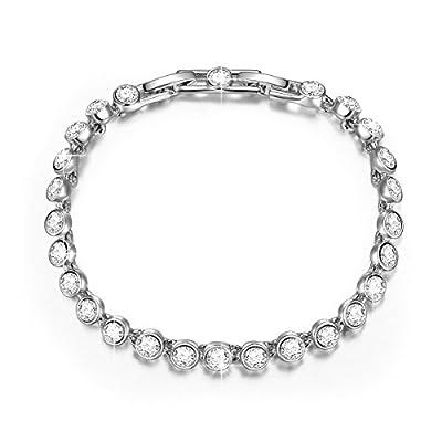 "Pauline & Morgen ""Water Sparkling"" White Gold Plated Crystal Women Bracelet"