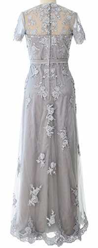 MACloth Women Short Sleeve Lace Mother of the Bride Dress 2017 Evening Gown white