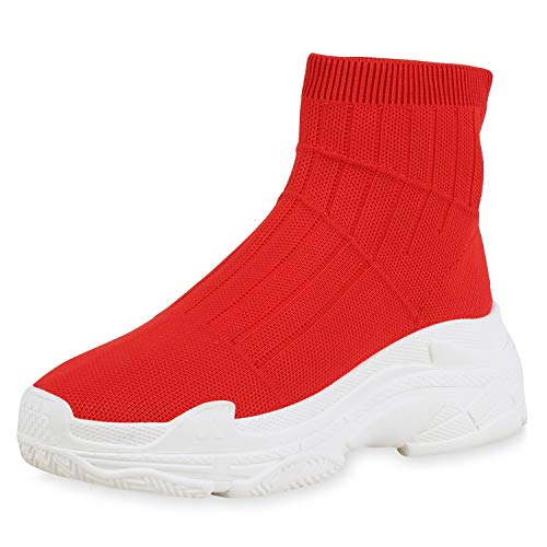 SCARPE VITA Damen Sportschuhe Laufschuhe Profilsohle Turnschuhe Fitness Sneaker Socken Schuhe Strick Freizeitschuhe 168516 Rot White 39