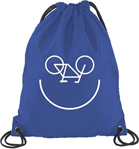 Shirtstreet24, Bike Smiley, Fahrrad Rennrad Turnbeutel Rucksack Sport Beutel Royal Blau