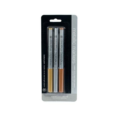 American Crafts Medium, Metallic Marker, 3 Stück, Gold, Silber, Kupfer -