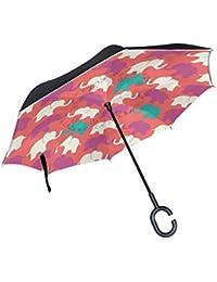 COOSUN Capa de los elefantes indios Goiaba doble del paraguas invertido inversa para el coche y