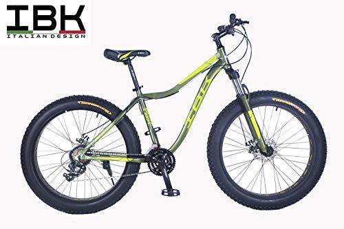"""IBK Bici Fat Bike 26\"""" in Alluminio Ammortizzata con Freni A Disco Cambio Shimano (Verde/Giallo Fluo)"""