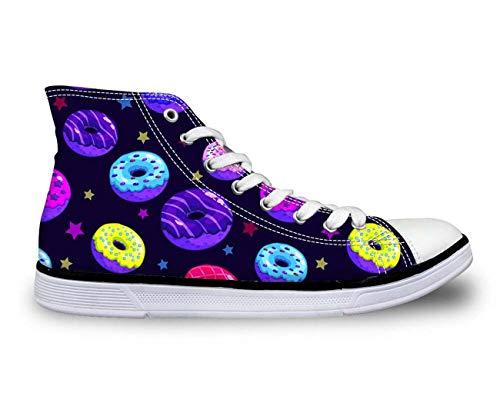 Fashion Donuts Women Casual Shoes Hi Tops Canvas Plimsolls Comfort Walking Pumps deep Blue C4516AK UK 5