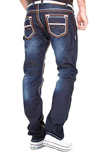 MERISH Herren Jeanshose Denim Dicke Naht Darkblue Trend Usedlook Jeans Hose Neu 9148 Blau