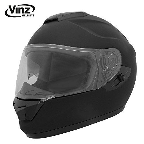 Vinz Integralhelm/Rollerhelm | Motorradhelm in Gr. S-XL | Integral Helm mit Sonnenblende (L (59-60 cm), Matt Schwarz)