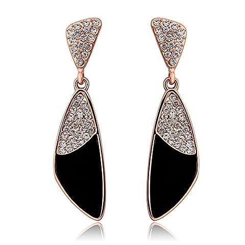 nykkola Fashion Swarovski Element Cristal Triangle Pendentif 18K plaqué or rose boucles d'oreilles pendantes