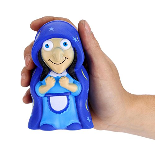 y, Soft Hexe Puppe Slow Rising Squeeze Halloween Weihnachten Party Dekoration Relax Dekompression Toys lindert Stress Geschenk, PU, blau, 11*6.5*cm (Beste Halloween-party-spiele)