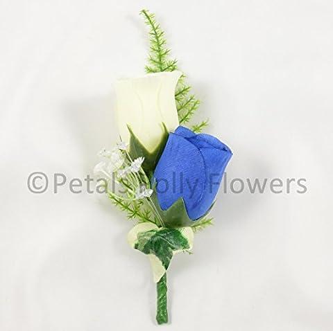 Petals Polly Künstlicher Ansteckstrauß, Seide Double Rose Knopfloch in Royal Blue/Ivory (Blume Im Knopfloch Hochzeit Korsagen)