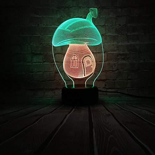 VOTOVCOM 3D Lampe Pilz USB Nachtlicht Kind Spielzeug Schlafzimmer Atmosphäre Lampe Familie Dekor Urlaub Weihnachten