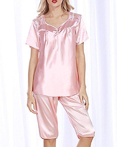 Manica corta Set pigiama Donna di pura Seta e pantaloncini Corallo Rosso Gomma Rosso