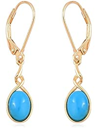 Sleeping Beauty Turquoise Lever Back Earrings in Yellow Gold Overlay Sterling Silver 1.75 Ct