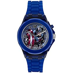 Captain America Children's Quartz Watch with Multicolour Dial Analogue Display and Blue Rubber Strap CTA3105