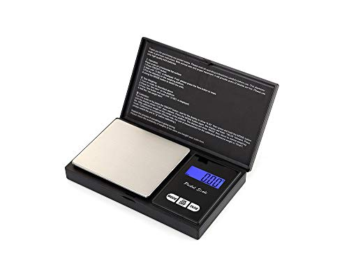 Escala de bolsillo- Escala digital portátil con pantalla LCD retroiluminada, Escala de bolsillo digital Elite de 500 x 0,01 g, Escala de pesaje mini digital   Especificaciones:   ✿ Peso: 107g  ✿ Dimensiones: 12.8 * 7.8 * 1.9  ✿ Color: Negro  ✿ Range...
