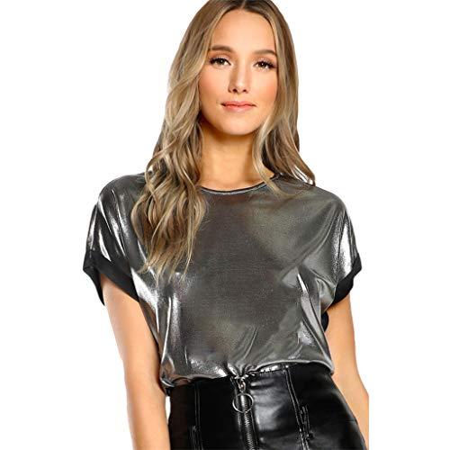 Moda, Mujer, Camiseta Plateada Manga Corta