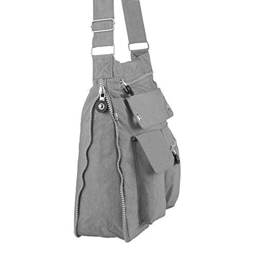 OBC Unisex erw. & bambini Borsa espandibile Borsa a tracolla casual SHOPPER Tablet/NETBOOK FINO circa 10-13 pollici - taupe-stone, 31x33x12 cm ( BxHxT ) grigio