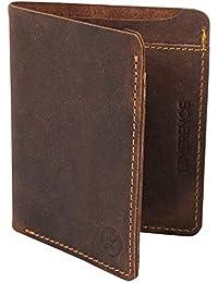 LIMERENCE Premium Hunter RFID Blocking Genuine Leather Wallet, Dark Brown