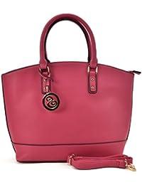 Sally Young Ladies Large Fashion Tote Bag Women Faux Leather Handbag Celebrity Style Oversized - Fushia