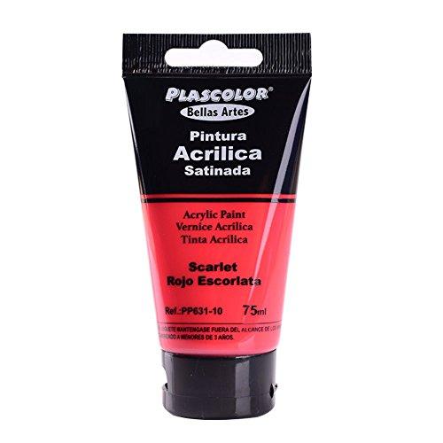 Plascolor PP631-10 - Pintura acrílica, 75 ml, color rojo escarlata