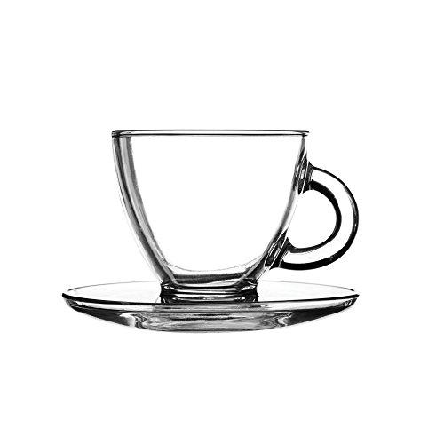 Entertain Cappuccino-Tassen und Untertassen, aus Glas, 195ml, 2 Stück