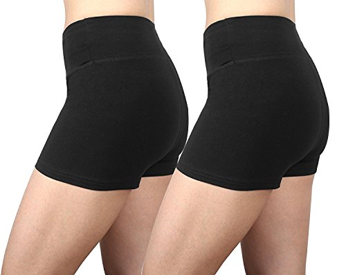 Neonysweets Femme Shorts de Sport Course Leggings Noir(2 Packs)
