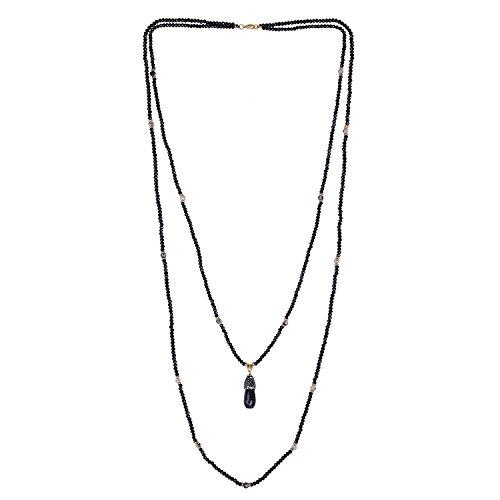 KELITCH 2 Kreis Handmade Halskette Schwarz Oxny Doppelt Schicht Kette mit Achat Anhänger (Double-layer-natürliche)