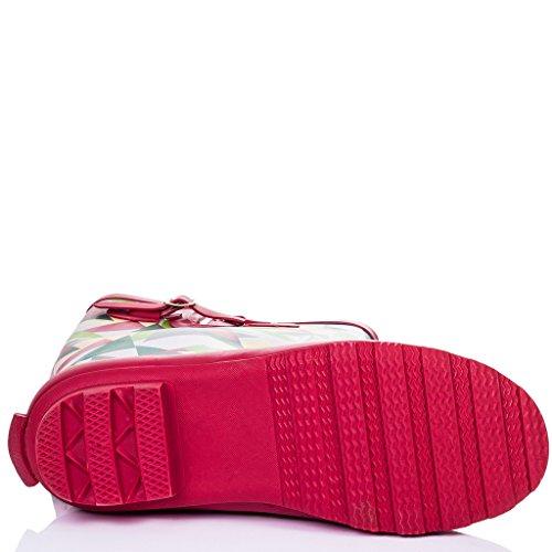 SPYLOVEBUY IGLOO Damen Verstellbare Schnalle Flache Fest Gummistiefel Regenstiefel Geo Red