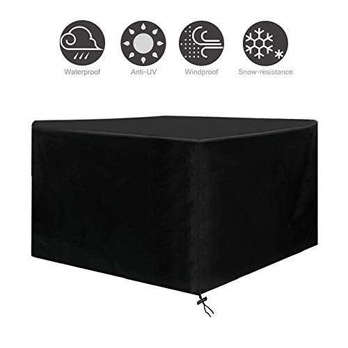 Schwarze Gartenmöbel Tisch- und Stuhlabdeckung, 210 Oxford-Stoff-Außenregenabdeckung Cube Sofa Cover (Size : 213×132×74cm)