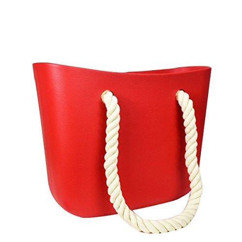 Colore Della Caramella Silicone Signore Il Sacchetto Corda Di Canapa Spalla Mano Borse Da Spiaggia Red