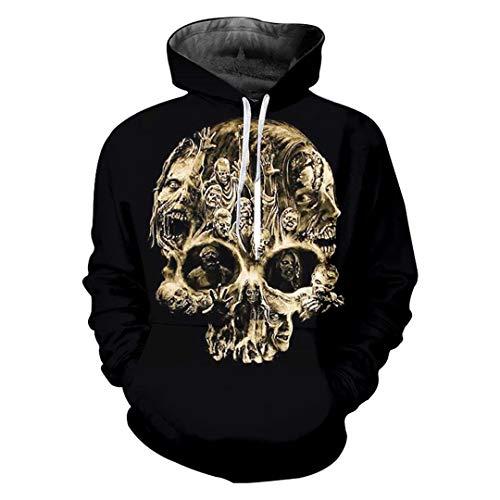 Erdnuss Herr Mann Kostüm - Erwachsene lose Skelett 3D Hoodies gedruckt Schädel lässig Kostüm Unisex Pullover Skull L