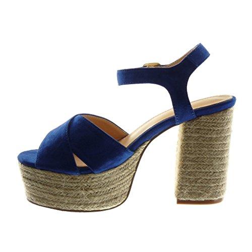Angkorly Scarpe Moda Sandali Mules con Cinturino Alla Caviglia Zeppe Donna Corda Tanga Fibbia Tacco a Blocco Alto 11 cm Blu